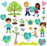 Τα ευτυχή παιδιά γιορτάζουν τη γήινη ημέρα Στοιχεία οικολογίας Στοκ Εικόνες