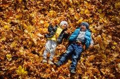 Τα ευτυχή παιδιά το φθινόπωρο σταθμεύουν να βρεθούν στα φύλλα στοκ εικόνα με δικαίωμα ελεύθερης χρήσης
