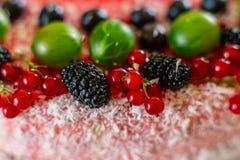 Τα εύγευστα υγιή χορτοφάγα τρόφιμα, δεν ψήνουν cheesecake φραουλών, που διακοσμείται με τα φρέσκα κόκκινα μούρα και την πράσινη μ Στοκ φωτογραφία με δικαίωμα ελεύθερης χρήσης