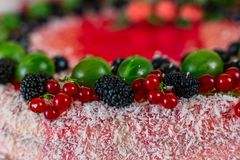 Τα εύγευστα υγιή χορτοφάγα τρόφιμα, δεν ψήνουν cheesecake φραουλών, που διακοσμείται με τα φρέσκα κόκκινα μούρα και την πράσινη μ Στοκ εικόνα με δικαίωμα ελεύθερης χρήσης