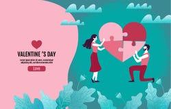 Τα ζεύγη δημιουργούν μαζί τους καρδιά-διαμορφωμένους γρίφους ελεύθερη απεικόνιση δικαιώματος