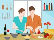 Τα ζεύγη μαγειρεύουν μαζί στην κουζίνα Υπάρχουν μπουκάλια του κρασιού και cookware στον μπλε τοίχο διανυσματική απεικόνιση