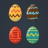 Τα ζωηρόχρωμα αυγά Πάσχας καθορισμένα τη συλλογή, απεικόνιση Αυγά Πάσχας για το σχέδιο διακοπών Πάσχας στο σκούρο γκρι υπόβαθρο Στοκ φωτογραφία με δικαίωμα ελεύθερης χρήσης