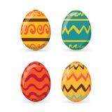 Τα ζωηρόχρωμα αυγά Πάσχας καθορισμένα τη συλλογή, απεικόνιση Αυγά Πάσχας για το σχέδιο διακοπών Πάσχας στο άσπρο υπόβαθρο Στοκ Φωτογραφία