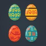 Τα ζωηρόχρωμα αυγά Πάσχας καθορισμένα τη συλλογή, απεικόνιση Αυγά Πάσχας για το σχέδιο διακοπών Πάσχας στο σκούρο γκρι υπόβαθρο Στοκ Εικόνες