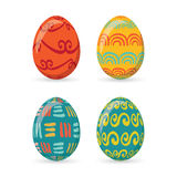 Τα ζωηρόχρωμα αυγά Πάσχας καθορισμένα τη συλλογή, απεικόνιση Αυγά Πάσχας για το σχέδιο διακοπών Πάσχας στο άσπρο υπόβαθρο Στοκ Φωτογραφίες