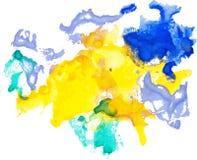 Τα ζωηρόχρωμα σημεία watercolor δίνουν τη συρμένη σύσταση εγγράφου Στοκ Εικόνες