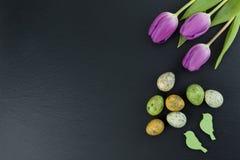 Τα ζωηρόχρωμες αυγά ορτυκιών και η τουλίπα ανθίζουν και πράσινα ξύλινα πουλιά στον πίνακα πετρών Τοπ άποψη με το διάστημα αντιγρά στοκ φωτογραφίες