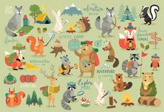 Τα ζώα δίνουν το συρμένο ύφος, το καλοκαίρι καθορισμένα - καλλιγραφία και άλλο ele απεικόνιση αποθεμάτων