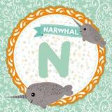 Τα ζώα Ν ABC είναι narwhal Αγγλικό αλφάβητο παιδιών διάνυσμα απεικόνιση αποθεμάτων
