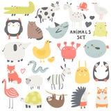 Τα ζώα Doodle θέτουν τη συμπερίληψη της κουκουβάγιας, κροκόδειλος, αγελάδα, γάτα, καρχαρίας, άλογο, ψάρια ζελατίνας, βάτραχος, se στοκ φωτογραφία