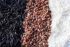 Τα δημητριακά ρυζιού είναι τραγανά άσπρα μαύρα καφετιά στοκ φωτογραφία