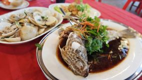 Τα θαλασσινά μαγείρεψαν το κινεζικό ύφος Στοκ Φωτογραφία