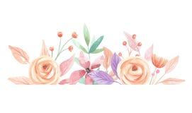 Τα θερινά μούρα Watercolor ανθίζουν τα σύνορα φύλλων φύλλων απεικόνιση αποθεμάτων