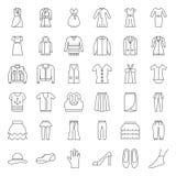 Τα θηλυκά ενδύματα, η τσάντα, τα παπούτσια και τα εξαρτήματα λεπταίνουν το σύνολο εικονιδίων περιλήψεων ελεύθερη απεικόνιση δικαιώματος