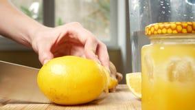 Τα θηλυκά χέρια κόβουν ένα μαχαίρι με το λεμόνι για ένα ποτό που γίνεται από τα εσπεριδοειδή χειροποίητα με τη ρίζα πιπεροριζών 4 φιλμ μικρού μήκους