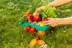 Τα θηλυκά χέρια που κρατούν το ψάθινο καλάθι με τα λαχανικά και τα φρούτα, κλείνουν επάνω στοκ εικόνα