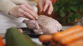 Τα θηλυκά χέρια ψεκάζουν τα καρυκεύματα στο κοτόπουλο κλείστε επάνω απόθεμα βίντεο