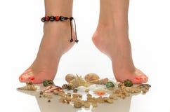 Τα θηλυκά πόδια στο βραχιόλι είναι στα θαλασσινά κοχύλια Στοκ Εικόνα