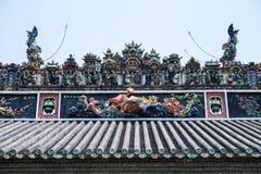 Τα διάσημα τουριστικά αξιοθέατα Guangzhou προγονική αίθουσα Chen πόλεων στην κινεζική, στη στέγη με τη διαδικασία και Shiwan po σ Στοκ εικόνες με δικαίωμα ελεύθερης χρήσης