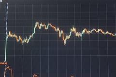 Τα διαγράμματα ελέγχουν τους φραγμούς και τα κεριά νομίσματος Στοκ Εικόνα