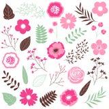 τα διακοσμητικά στοιχεία floral πολλά θέτουν Στοκ εικόνες με δικαίωμα ελεύθερης χρήσης