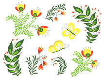 τα διακοσμητικά στοιχεία floral πολλά θέτουν Στοκ Φωτογραφίες