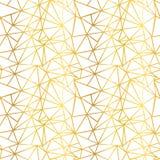 Τα διανυσματικά άσπρα και χρυσά φύλλων αλουμινίου τρίγωνα μωσαϊκών καλωδίων γεωμετρικά επαναλαμβάνουν το άνευ ραφής υπόβαθρο σχεδ Στοκ Φωτογραφία