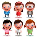 Τα διανυσματικά αγόρια και τα κορίτσια χαρακτήρων παιδιών θέτουν με το ευτυχές χαμόγελο και τις διαφορετικές εξαρτήσεις Στοκ Εικόνες