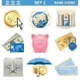 Τα διανυσματικά εικονίδια τράπεζας θέτουν 1 Στοκ Φωτογραφία