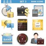 Τα διανυσματικά εικονίδια τράπεζας θέτουν 3 Στοκ Εικόνα