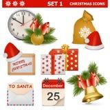 Τα διανυσματικά εικονίδια Χριστουγέννων θέτουν 1 Στοκ εικόνες με δικαίωμα ελεύθερης χρήσης