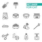 Τα διανυσματικά λεπτά εικονίδια γραμμών καθορισμένα τη γάτα καταστημάτων κατοικίδιων ζώων fot Στοκ εικόνα με δικαίωμα ελεύθερης χρήσης