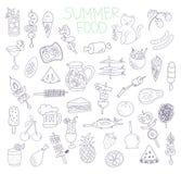 Τα διανυσματικά θερινά τρόφιμα doodles έθεσαν Στοκ Εικόνες