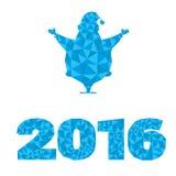 Τα διανυσματικά στοιχεία σχεδίου σκιαγραφούν Άγιο Βασίλη, νέα διακόσμηση έτους 2016 αριθμού ως δομή κρυστάλλου που απομονώνεται σ Στοκ εικόνα με δικαίωμα ελεύθερης χρήσης