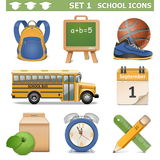 Τα διανυσματικά σχολικά εικονίδια θέτουν 1 Στοκ Φωτογραφίες