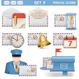 Τα διανυσματικά ταχυδρομικά εικονίδια θέτουν 9 Στοκ Φωτογραφία