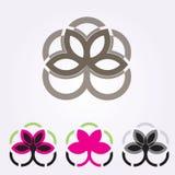 Τα διανυσματικά floral εικονίδια και το λογότυπο σχεδιάζουν τα πρότυπα στο ύφος περιλήψεων - αφηρημένα μονογράμματα και εμβλήματα Στοκ φωτογραφία με δικαίωμα ελεύθερης χρήσης