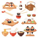 Τα ιαπωνικά τρόφιμα τρώνε sashimi σουσιών το ρόλο ή το nigiri και τα θαλασσινά με το ρύζι στην απεικόνιση Japanization εστιατορίω διανυσματική απεικόνιση