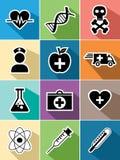 Τα ιατρικά επίπεδα εικονίδια υγειονομικής περίθαλψης καθορισμένα το σχέδιο Στοκ εικόνες με δικαίωμα ελεύθερης χρήσης
