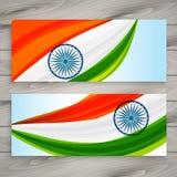 Τα ινδικά εμβλήματα σημαιών καθορισμένα το διανυσματικό σχέδιο Στοκ Φωτογραφίες