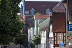 τα ιστορικά κτήρια προσόψεων πόλεων schwaebisch gmuend απαριθμούν orn Στοκ Φωτογραφίες
