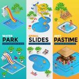 Τα κάθετα εμβλήματα Ιστού Aquapark με το διαφορετικό νερό γλιστρούν, πάρκο οικογενειακού νερού, σωλήνες λόφων και isometric διάνυ απεικόνιση αποθεμάτων