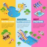 Τα κάθετα εμβλήματα Ιστού Aquapark με το διαφορετικό νερό γλιστρούν, πάρκο οικογενειακού νερού, σωλήνες λόφων και isometric διάνυ διανυσματική απεικόνιση