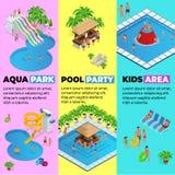 Τα κάθετα εμβλήματα Ιστού Aquapark με το διαφορετικό νερό γλιστρούν, πάρκο οικογενειακού νερού, σωλήνες λόφων και isometric διάνυ ελεύθερη απεικόνιση δικαιώματος