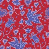 Τα κήπος-λουλούδια της Lilly στην άνθιση άνευ ραφής επαναλαμβάνουν το υπόβαθρο σχεδίων κόκκινος και μπλε διανυσματική απεικόνιση