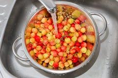 Τα κίτρινα και κόκκινα κεράσια πλένονται πρίν τρώνε Στοκ φωτογραφία με δικαίωμα ελεύθερης χρήσης