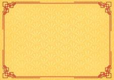 Τα κίτρινα κινέζικα λίγο αφηρημένο υπόβαθρο ανεμιστήρων με τα κόκκινα σύνορα Στοκ Εικόνες