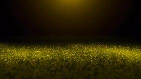 Τα κίτρινα μόρια ακτινοβολούν σε σε αργή κίνηση σε ένα θολωμένο υπόβαθρο Hill φωτισμών 1 Zf2Y διανυσματική απεικόνιση