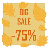 Τα κίτρινα φύλλα σε ένα καφετί υπόβαθρο και την επιγραφή είναι μια μεγάλη μεταπώληση για 75 τοις εκατό διανυσματική απεικόνιση